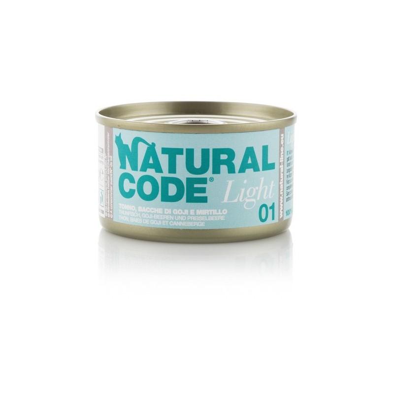 Natural Code Light Tonno, Bacche di Goji e Mirtilli per Gatti 85gr