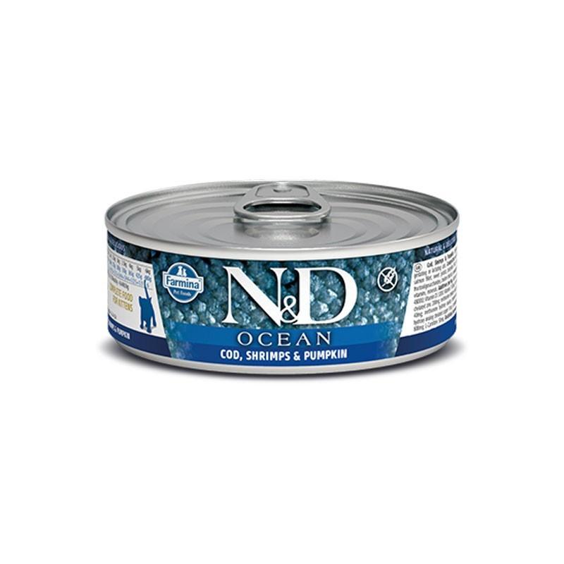 Farmina N&D Ocean Kitten Merluzzo e Gamberetti Umido per Gattini 80g