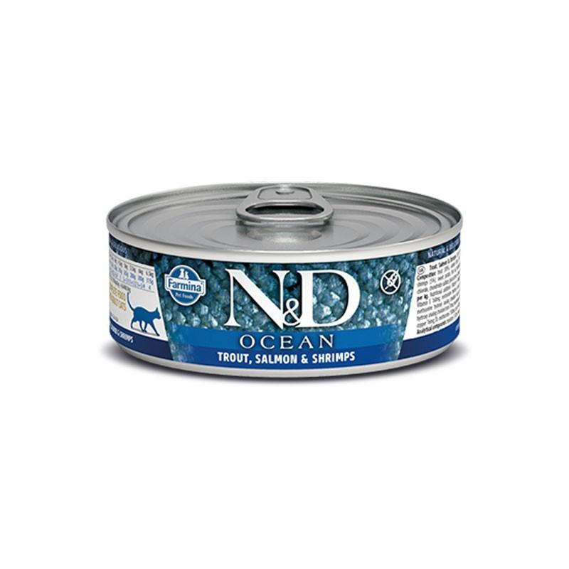 Farmina N&D Ocean Trota Salmone e Gamberetti Umido per Gatti 80g