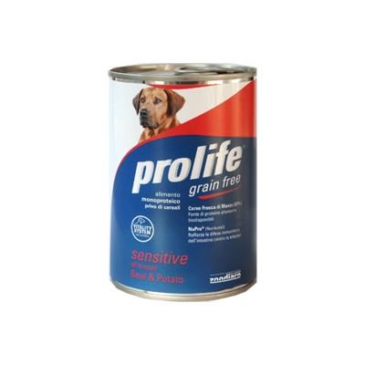 Prolife Adult Sensitive Manzo e Patate Umido per Cani 400gr