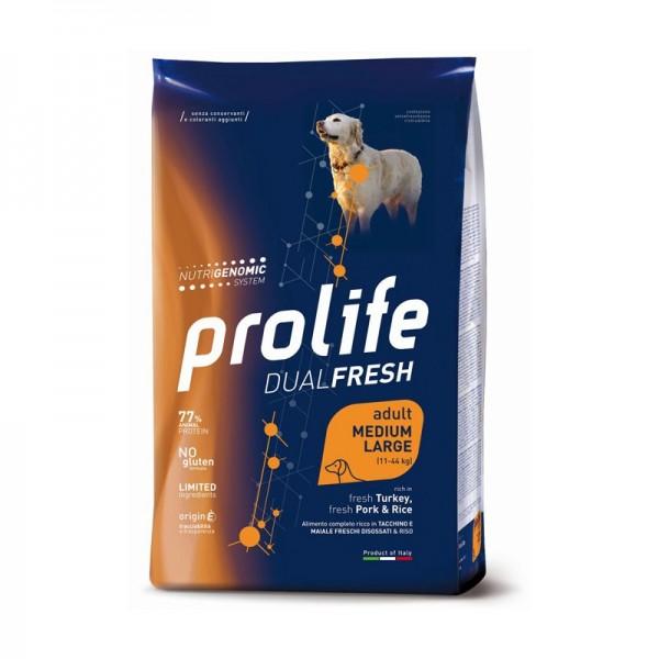 Prolife Dual Fresh Adult Medium/Large Tacchino, Maiale e Riso