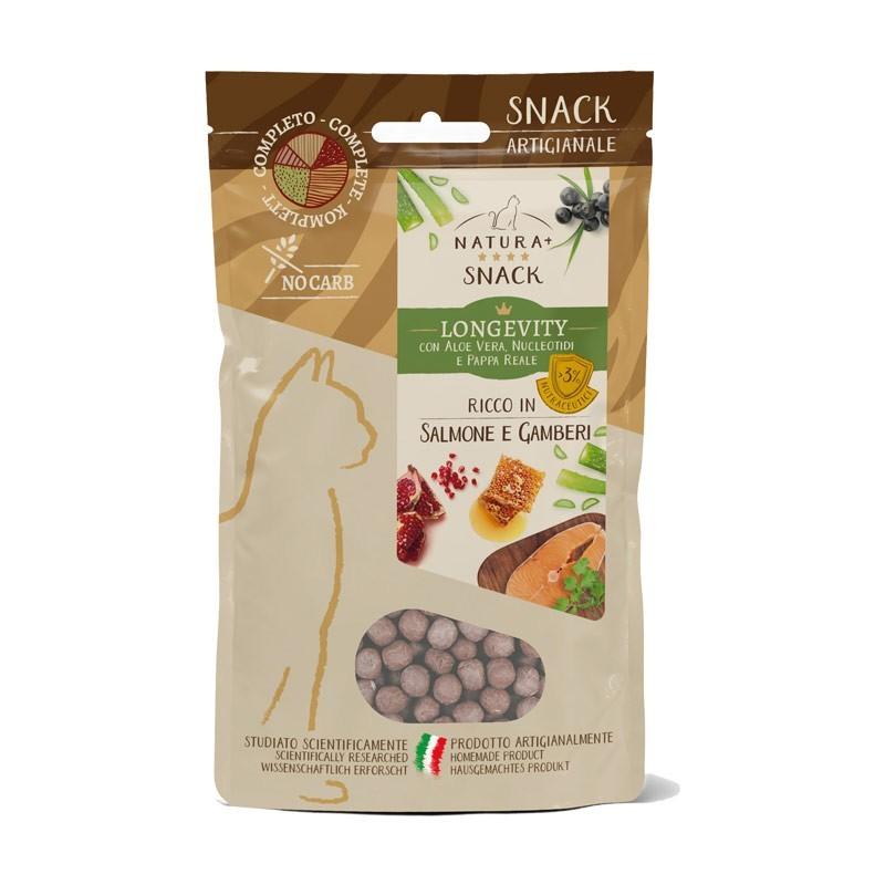 Natura+ Snack Longevity Salmone e Gamberetti per Gatti
