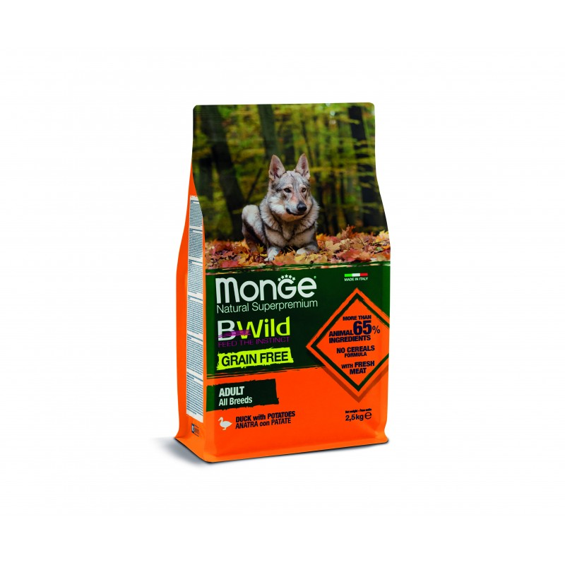 Monge BWild Grain Free Adult All Breeds Anatra e Patate per Cani