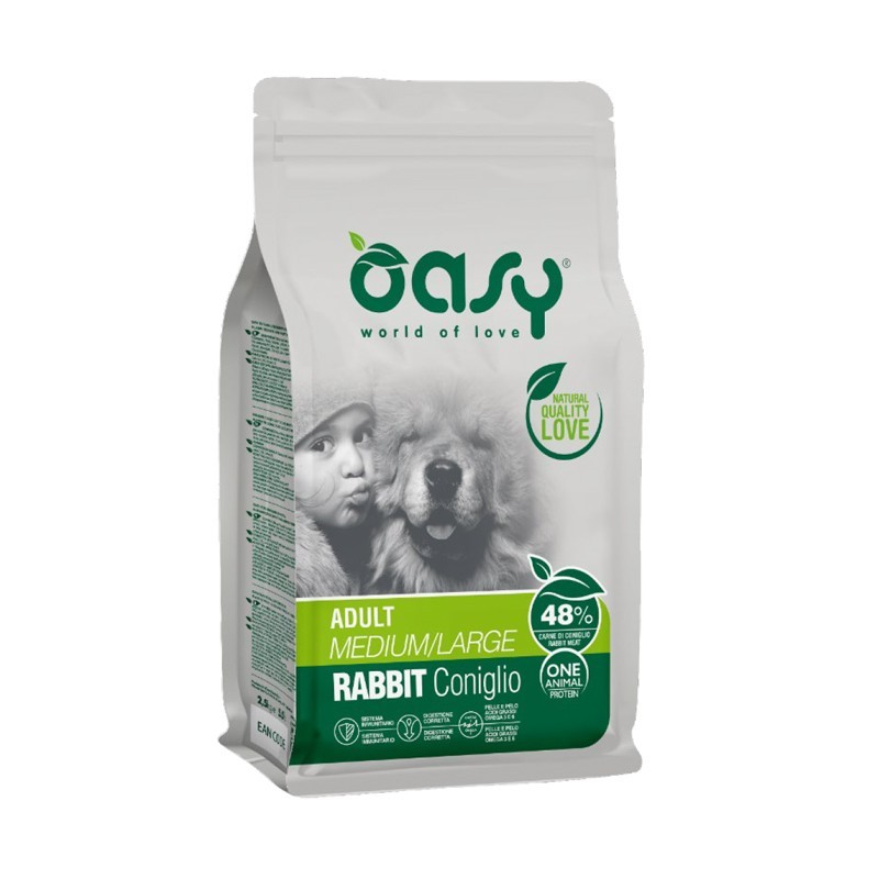 Oasy One Animal Protein Adult Medium/Large Coniglio per Cani