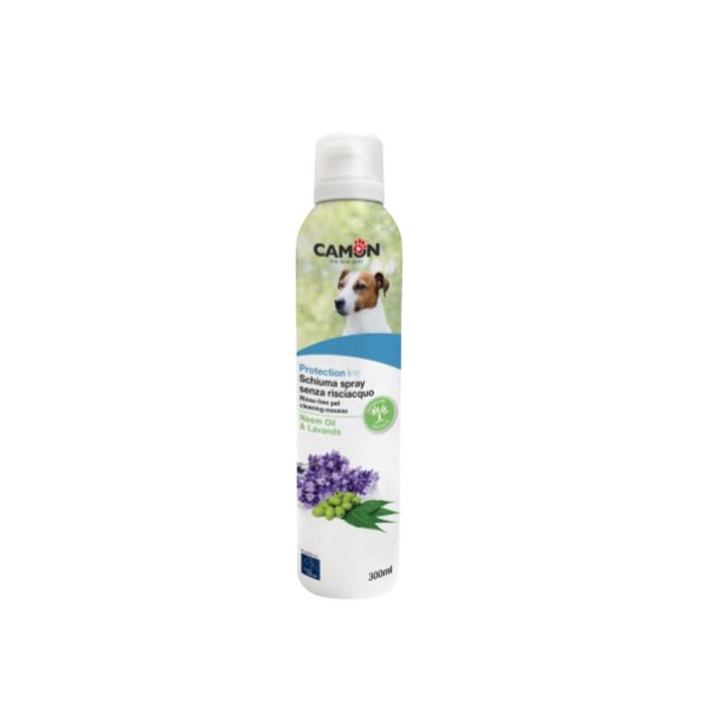 Orme Naturali Schiuma Spray Senza Risciacquo con Lavanda e Olio di Neem per Cani