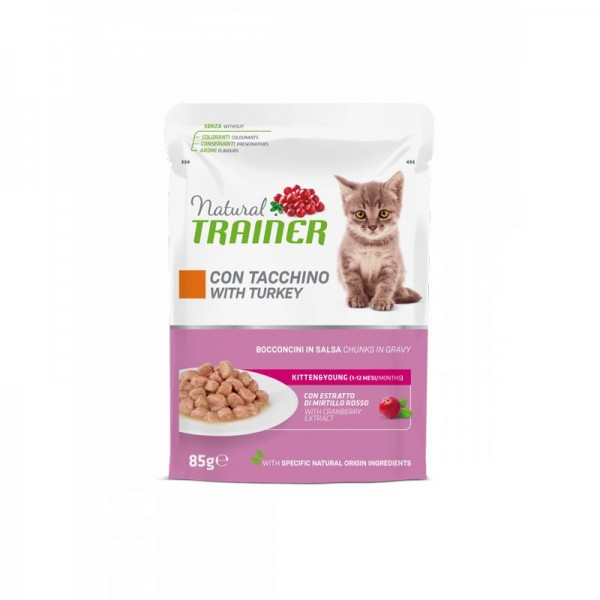 Natural Trainer Kitten & Young Umido con Tacchino