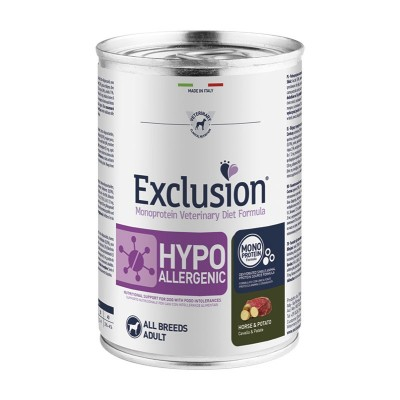 Exclusion Vet Diet Hypoallergenic All Breeds Adult Umido Cavallo e Patate