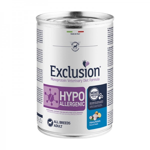 Exclusion Vet Diet Hypoallergenic All Breeds Adult Umido Pesce e Patate