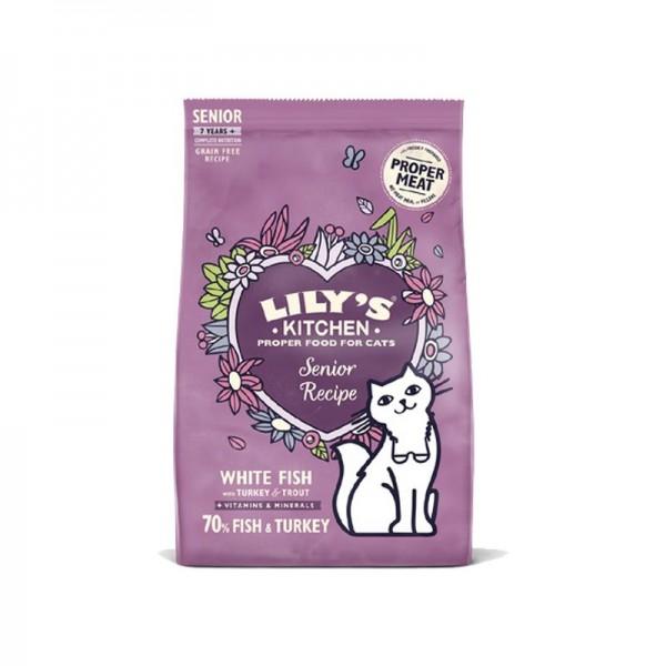 Lily's Kitchen Senior Recipe con Pesce Bianco, Tacchino e Trota per Gatti