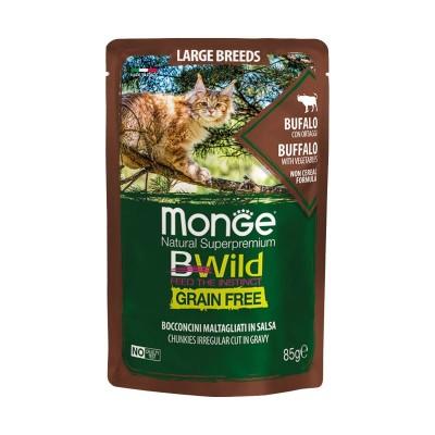 Monge Cat BWild Grain Free Large Breeds Bufalo Bocconcini in Salsa per Gatti