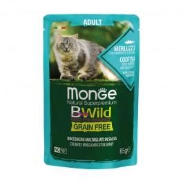 Monge Cat BWild Grain Free Adult Merluzzo con Ortaggi Bocconcini in Salsa per Gatti