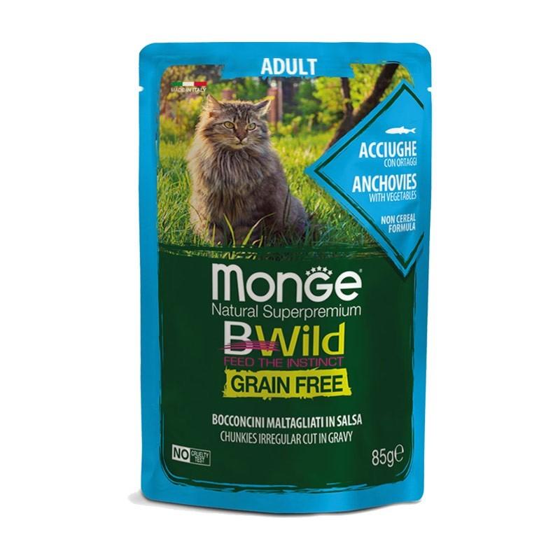 Monge BWild Grain Free Adult Acciughe con Ortaggi Bocconcini in Salsa per Gatti