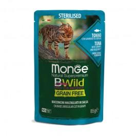 Monge Cat BWild Grain Free Sterilised Tonno con Gamberetti e Ortaggi Bocconcini in Salsa per Gatti