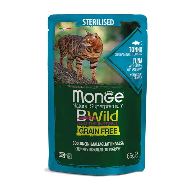 Monge BWild Grain Free Sterilised Tonno con Ortaggi Bocconcini in Salsa per Gatti