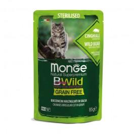 Monge Cat BWild Grain Free Sterilised Cinghiale con Ortaggi Bocconcini in Salsa per Gatti
