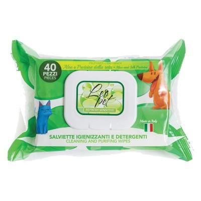 LeoPet Salviette Igienizzanti Aloe e Proteine della Seta