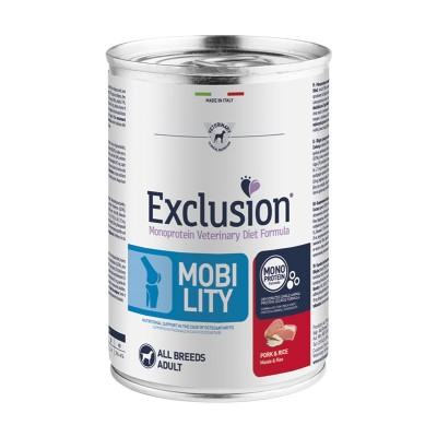 Exclusion Vet Diet Mobility Adult All Breed Umido Maiale e Riso