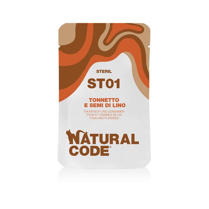 Natural Code Sterilised Tonnetto e Semi di Lino Umido per Gatti