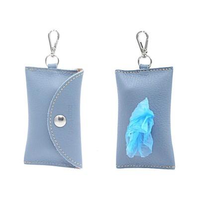 Pupakiotti Basic Pocket Porta Sacchetti in Pelle Azzurro