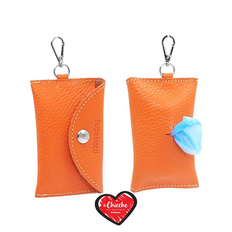 Pupakiotti Basic Pocket Porta Sacchetti in Pelle Arancione
