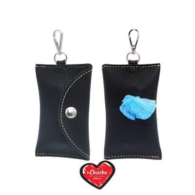 Pupakiotti Basic Pocket Porta Sacchetti in Pelle Nero