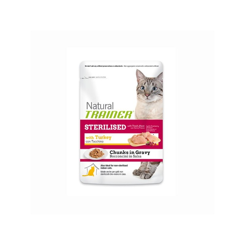 Trainer Natural Sterilised al Tacchino in Busta per Gatti 85gr