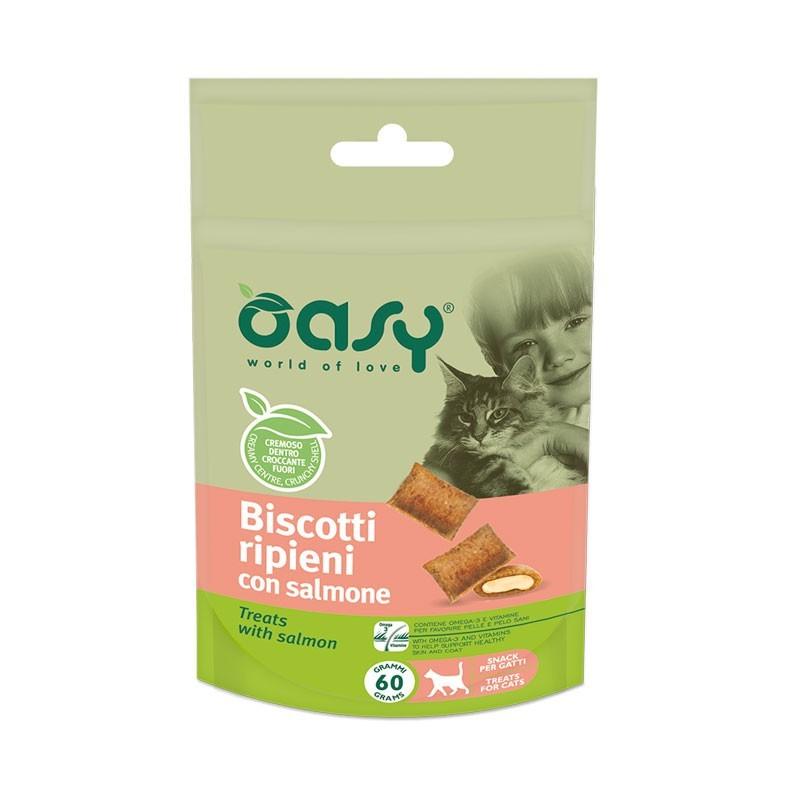 Oasy Biscotti Ripieni al Salmone per Gatto