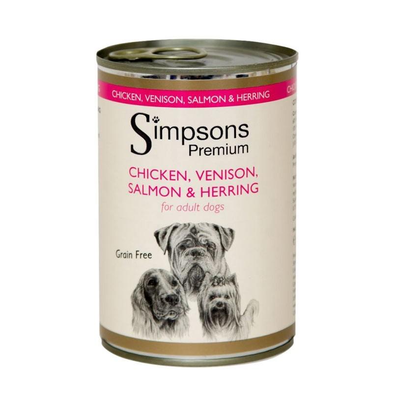 Simpsons Umido al Pollo Cervo Salmone e Aringhe per Cani 400gr