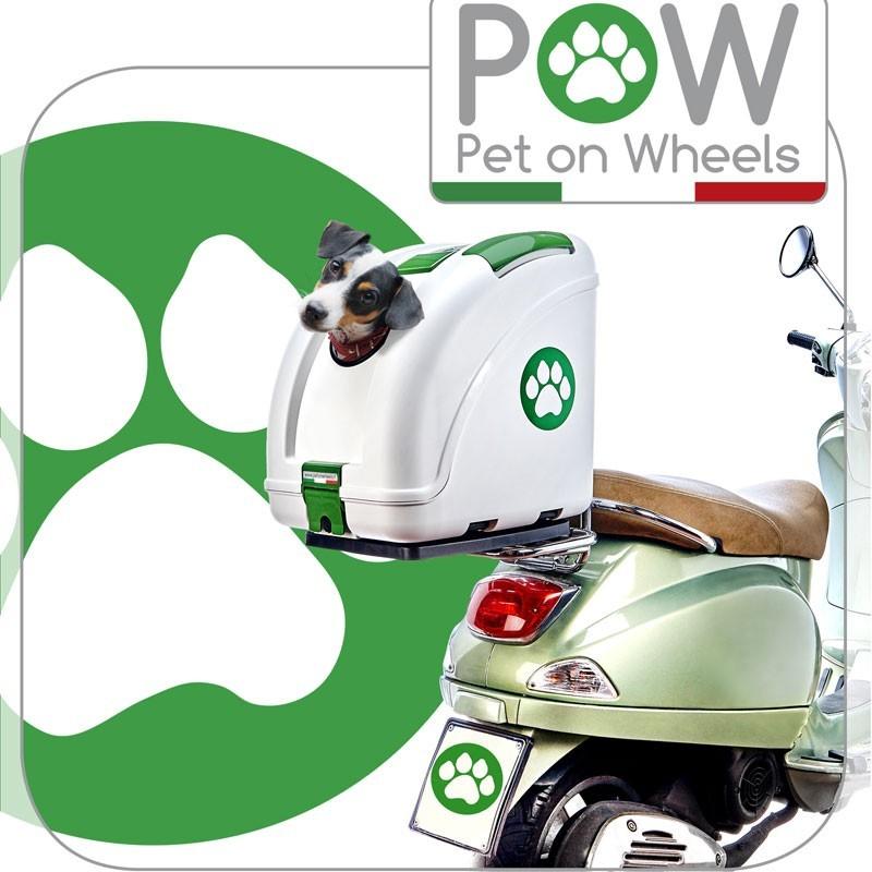 Pow trasportino per cani per moto e bici robinson pet shop for Trasportino cane scooter