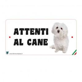 Farm Company Targa Attenti al Cane con Maltese