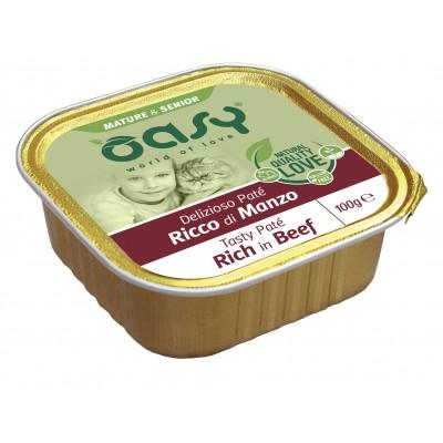 Oasy Mature & Senior Tasty Paté al Manzo Umido per Gatti